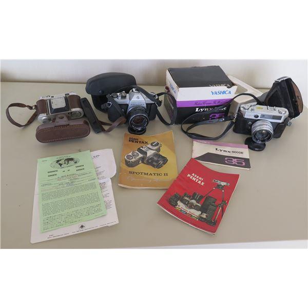 Qty 3 Cameras: Yashica Lynx-5000E, Pentax Asahi Spotmatic II, Vintage Retina
