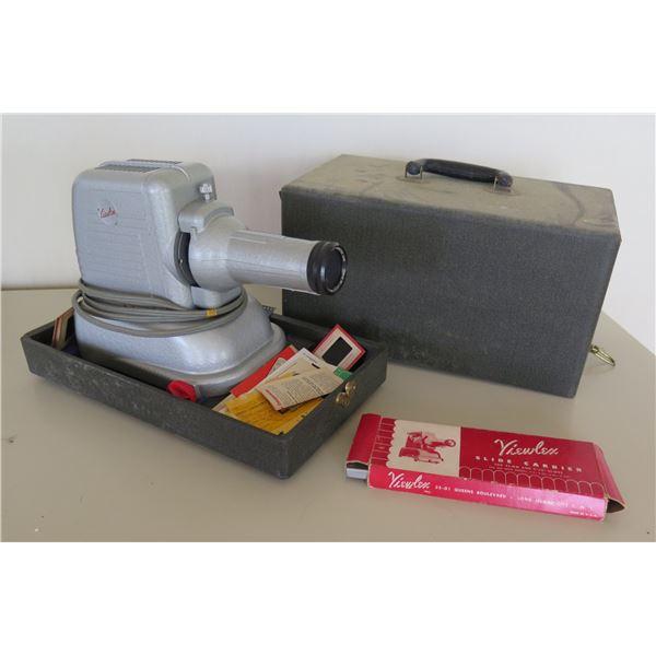 """Vintage Viewlex Projector & Slide Carrier for 35MM & 2"""" Slides in Hard Case"""