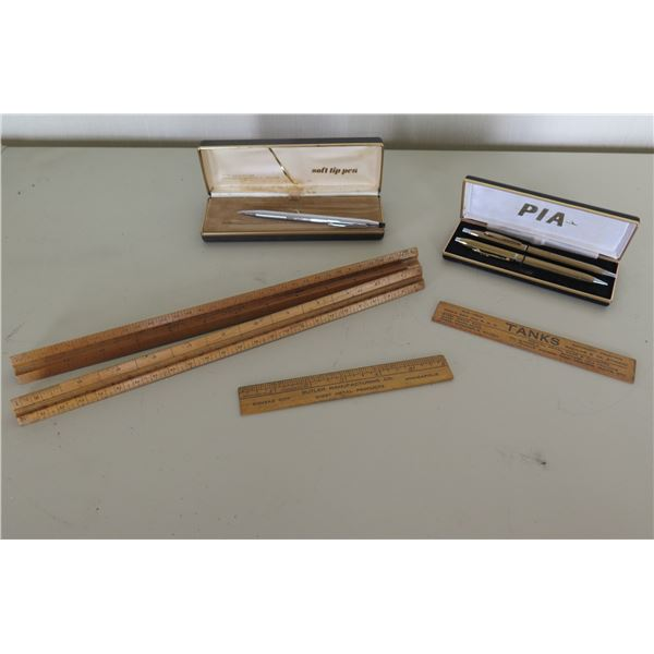 Pia Pen & Pencil Set in Gift Box, Silver Soft Tip Pen in Box & Wooden Holders