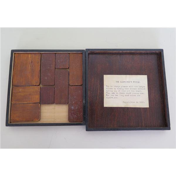 "Vintage Wooden 'Carpenter's Puzzle' Copyrighted 1932 Game 6"" Diameter"