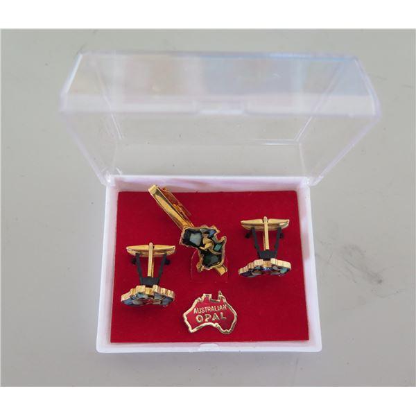Qty 2 Australian Opal Cuff Links & Matching Tie Tack in Plastic Box