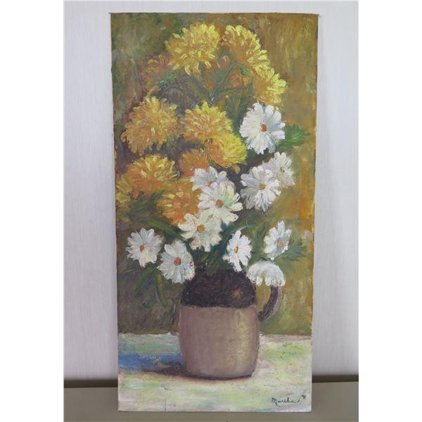 "Original Painting, Signed by Artist Martha Seugle 71 (unframed) 12""x24"""