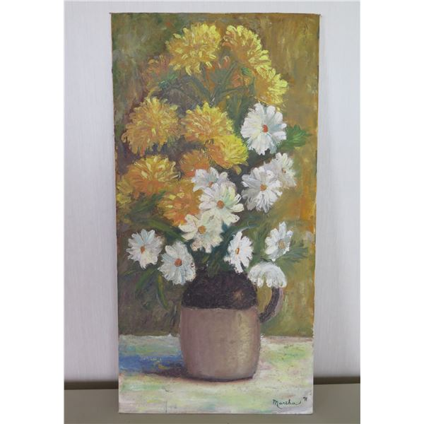 """Original Painting on Canvas Panel, Signed by Artist Martha Seugle 71 (unframed) 12""""x24"""""""