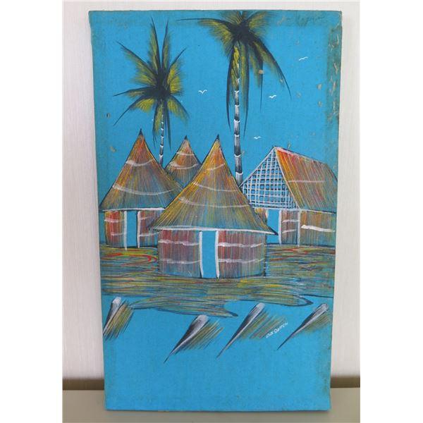 "Small Pastel on Silk, Tiki Hut, Signed by Artist D.J. Saiech (unframed) 9.5""x16"""