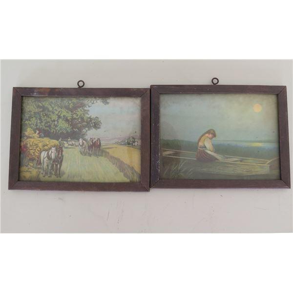 "Qty 2 Wood Framed Vintage Scenes Art Works 8""x6"" each"
