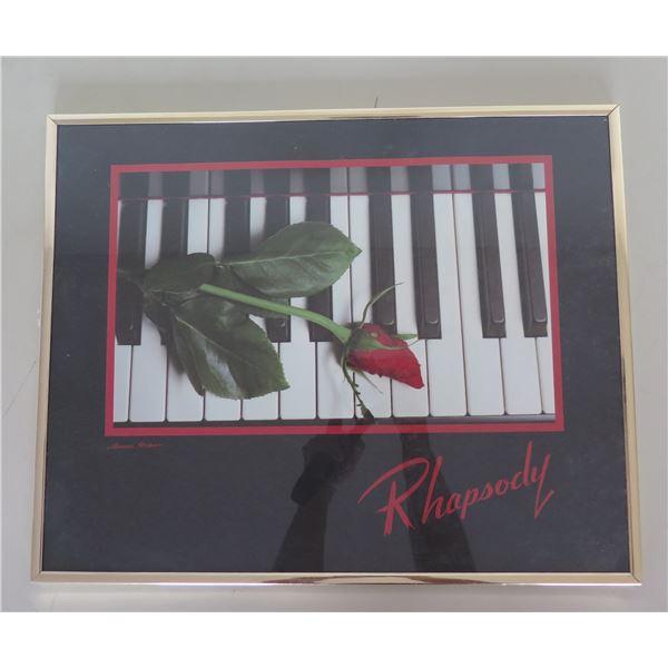 "Rhapsody Red Rose on Piano Keys Print in Metal Frame 10""x16"""