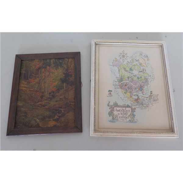 Qty 2 Framed Wall Hangings 'Amerique du Nord Centrale' & Autumn Scene