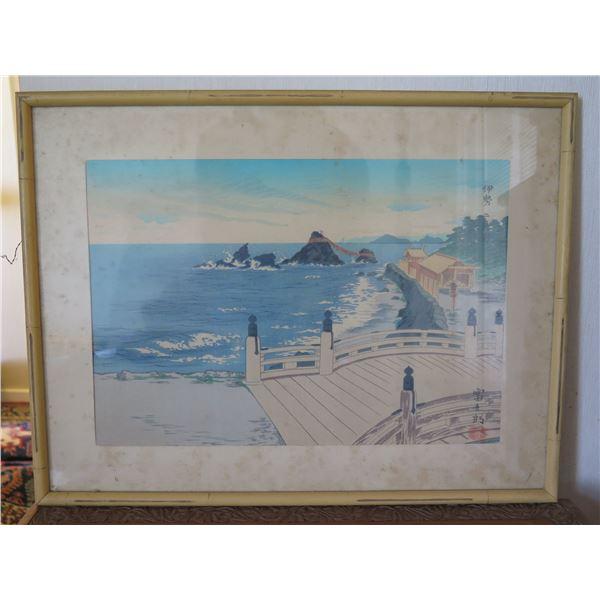 """Asian Seaside Scene Artwork w/ Maker's Mark 19""""x14"""""""