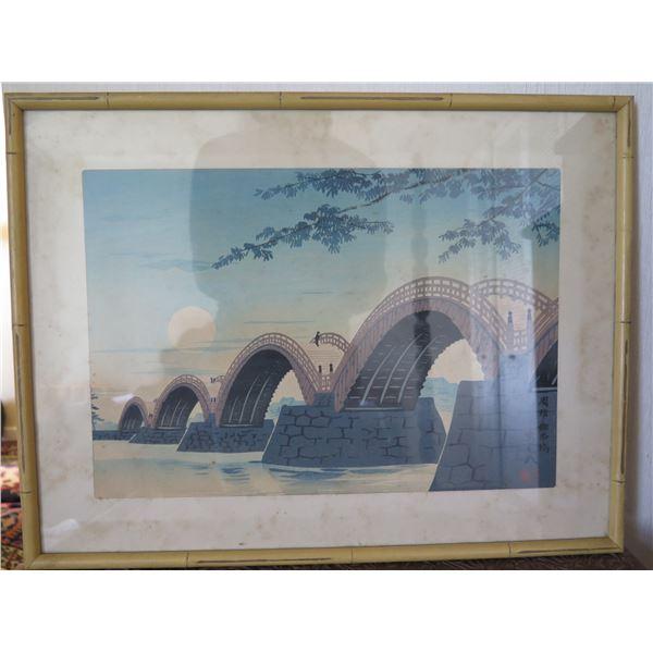"Asian Arched Bridges Scene Artwork w/ Maker's Mark 19""x14"""
