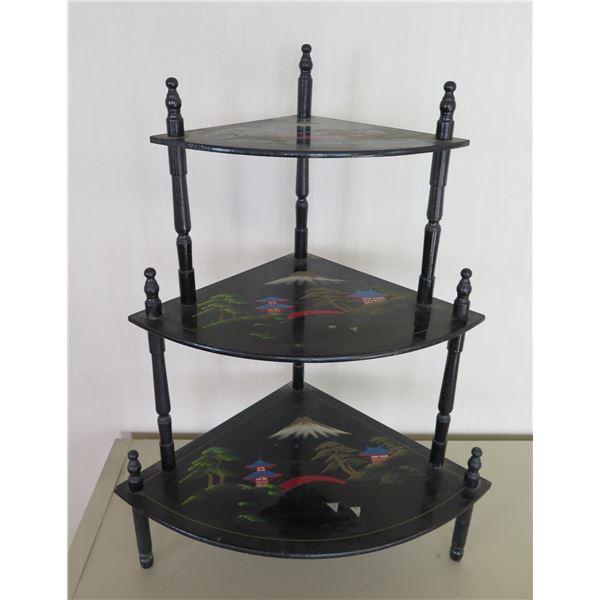 """Wooden 3 Tier Corner Shelf w/ Black Asian Art Rounded Shelves 19""""x27"""""""