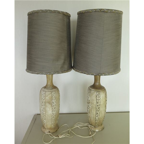 """Qty 2 Ceramic Lamps w/ Leaf & Berry Design & Brown Shades 36""""H"""
