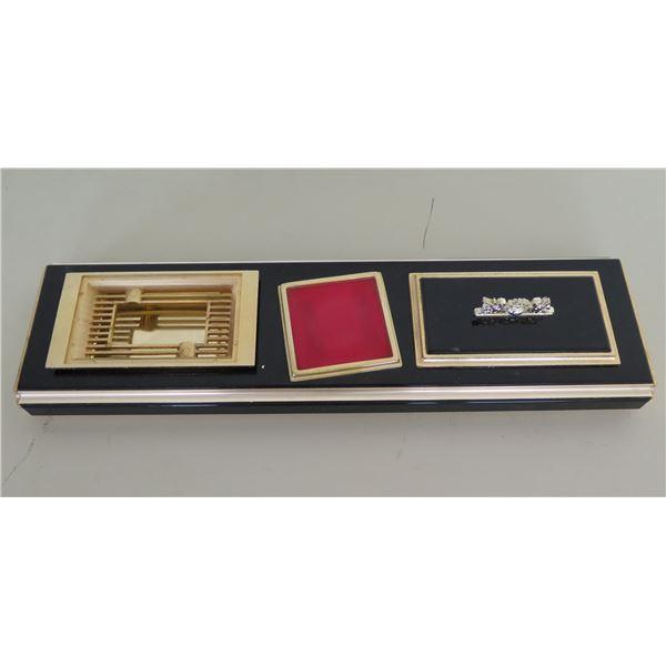 """Black Tray w/ 3 Removable Containers Cigarette Case & Ashtray 4.5""""x18""""L"""