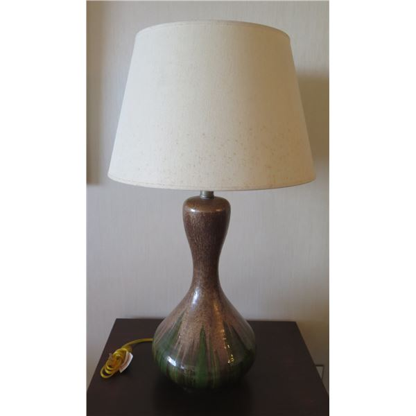 """Ceramic Lamp w/ Green and Brown Glaze & Off-White Shade 33""""H"""