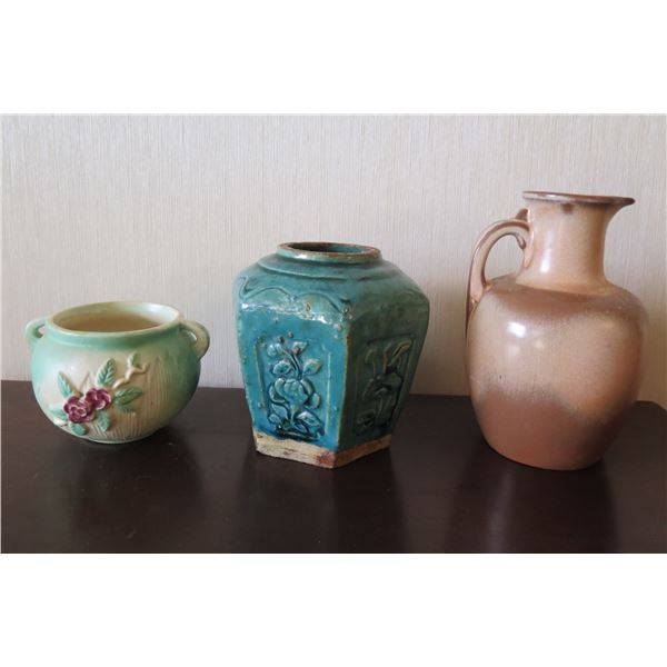 Qty 3 Ceramic Vases: Brown Water Pitcher, Aqua Floral Urn & Green Bowl