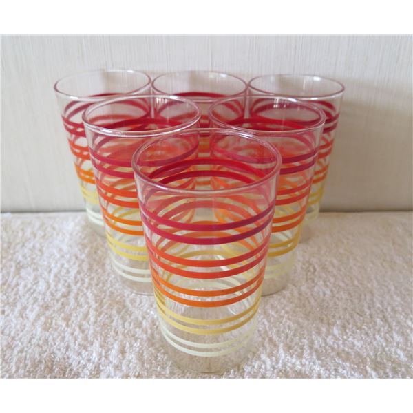 """Qty 6 Clear Juice Glasses w/ Yellow & Red Stripe Design 3""""x5""""H"""