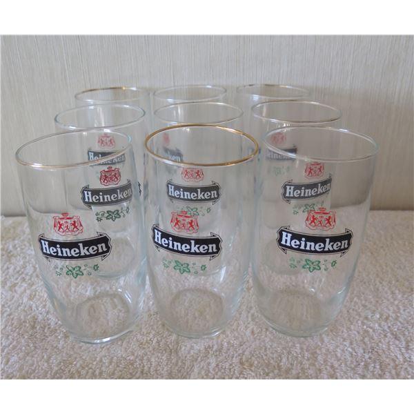 "Qty 9 Clear Heineken Beer Glasses w/ Logo & Gold Rim 2.5""x5""H"