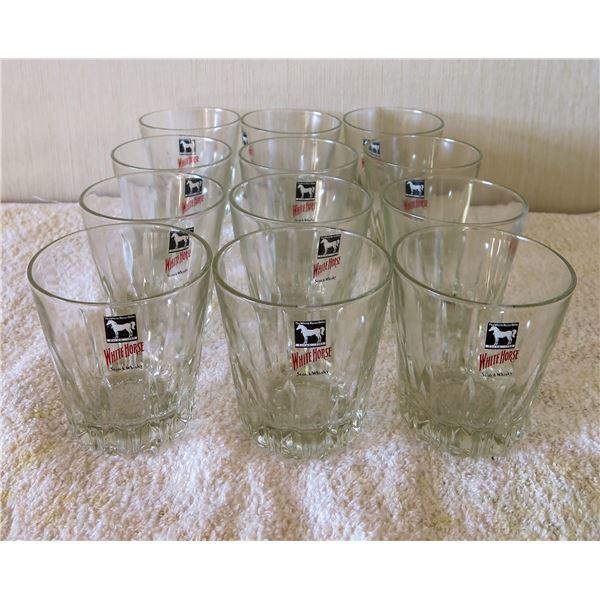 "Qty 12 Clear White Horse Scotch Whiskey Rocks Glasses w/ Logo 3""x4""H"