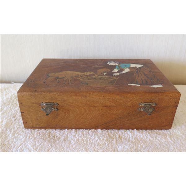 "Wooden Carved Box w/ Shepherd & Sheep w/ Metal Hardware 9""x6""x3""H"