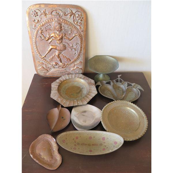 Qty 9 Metal Decorative Items: Thai Buddha Décor, 2 Leaf Bowls, Ribbed Dishes