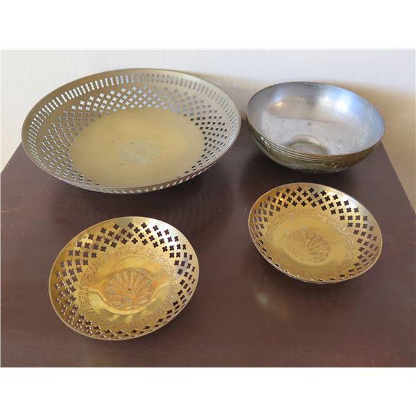 """Qty 4 Metal Bowls - 3 w/ Cut Out Design & Etched Center 6""""-12"""" Diameter"""