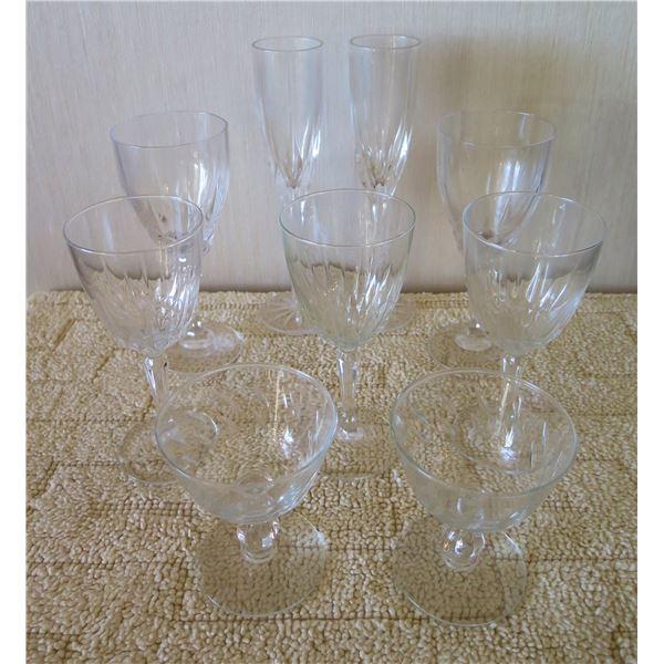 Qty 9 Misc Etched Cut Glass Stemmed Glassware: Wine Glasses, Flutes, Cordial, etc