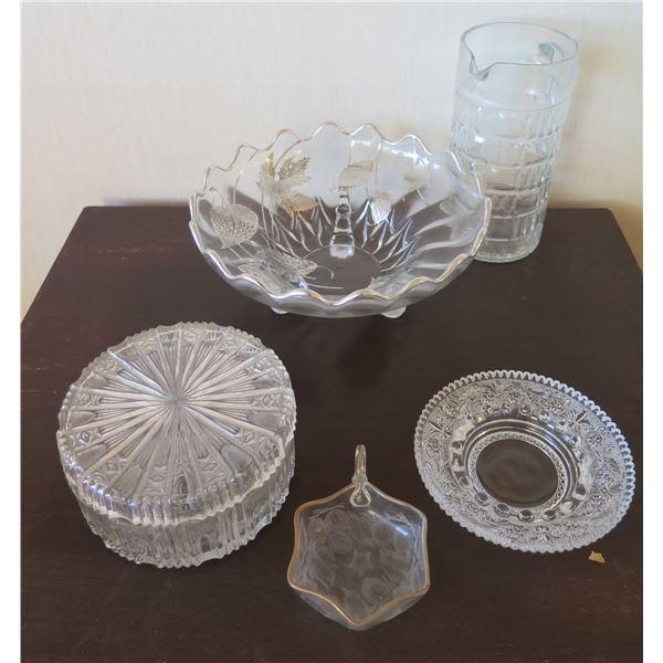 Qty 5 Etched Cut Glass Serveware: Pitcher, Bowl, Vase, Candy Dish w/ Lid, etc