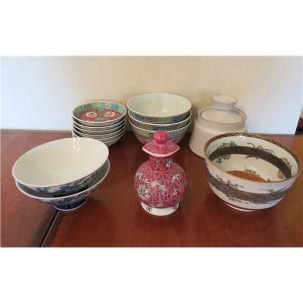 Misc Asian Serveware: 6 Chopstick Holders, 3 Rice & 3 Misc Bowls, Ginger Jar etc