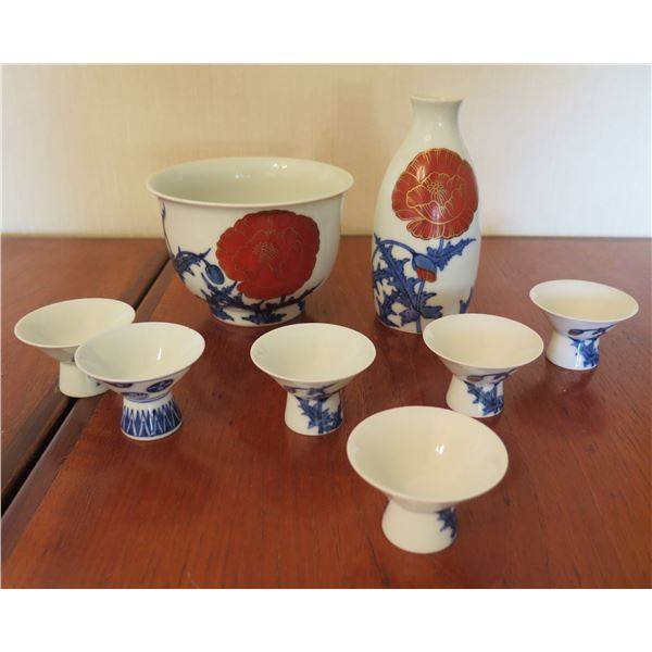 Qty 6 Footed Sake Cups w/ Ceramic Decanter & Matching Bowl & Maker's Mark