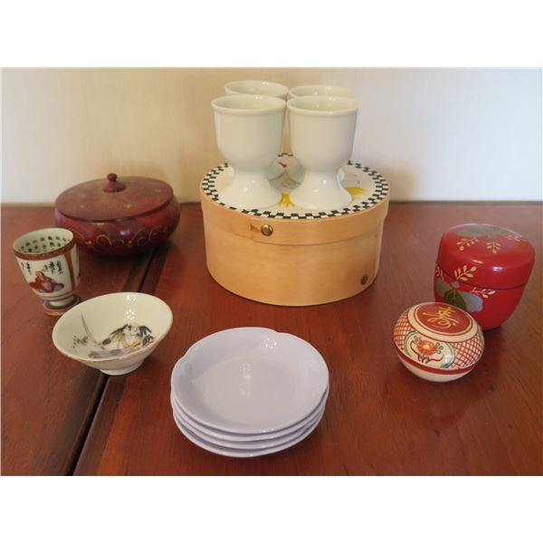 Misc Asian Serveware: 4 Chopstick Holders, 5 Sake Cups, 3 Lidded Trinket Boxes