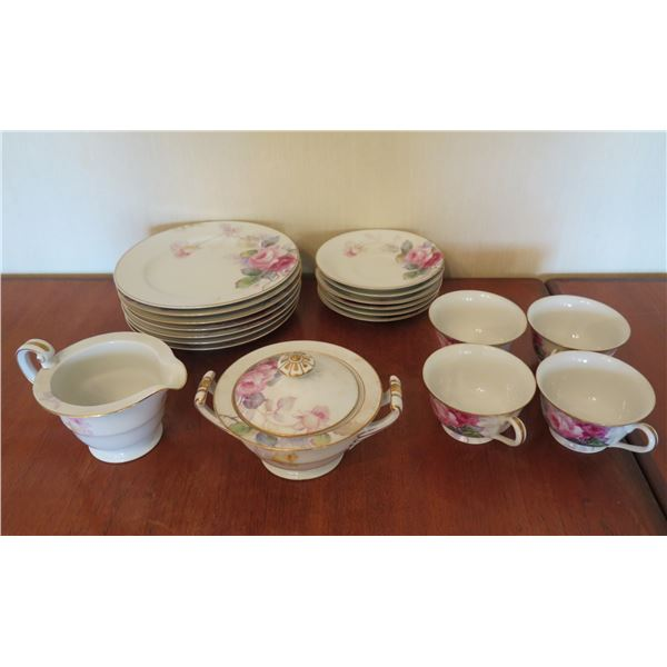 Qty 4 Teacups w/ Saucers, 7 Side Plates w/ Floral Design & Creamer & Sugar Bowl