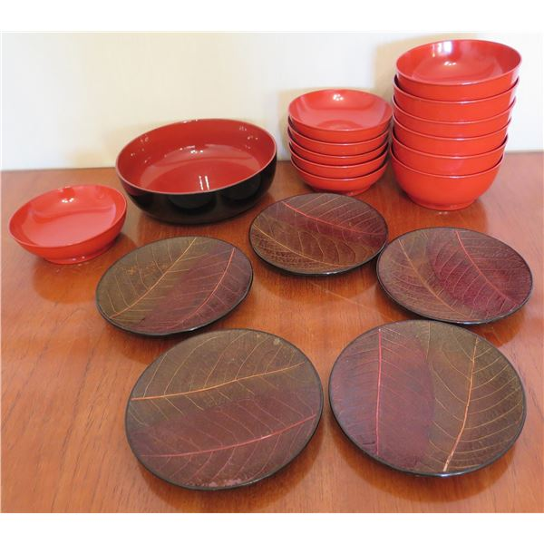 Qty 13 Misc Size Red Lacquered Bowls & 4 Round Plates w/ Leaf Design