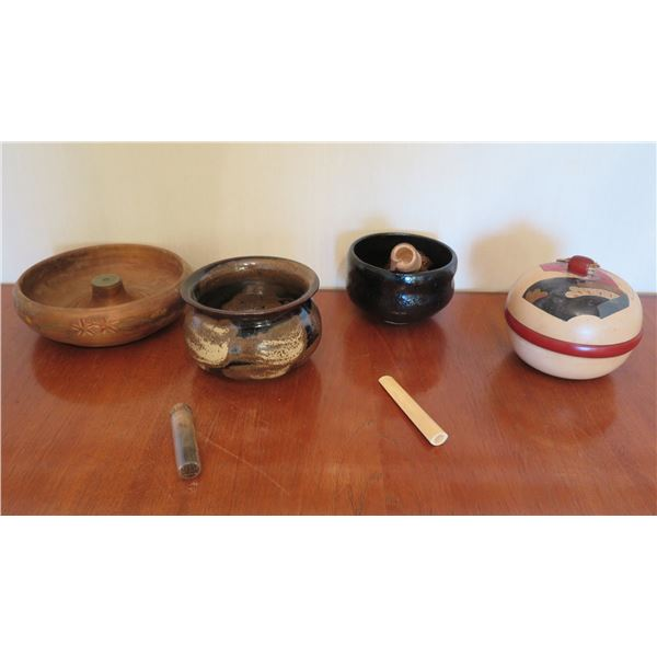 Qty 4 Misc Bowls: Wood Carved, 2 Ceramic Glazed, Lidded & Chasen Brush
