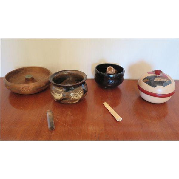 Qty 4 Misc Bowls: Wood Carved, 2 Ceramic Glazed, Lidded & Chasen Brush