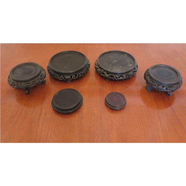 "Qty 6 Misc Size Black Vase Base Holders Feet 4""-6"" Diameter"