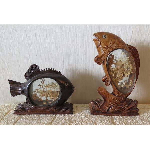 """Qty 2 Wooden Carved Fish w/ Intricate Carved Village Interior Scenes 7""""-12""""H"""