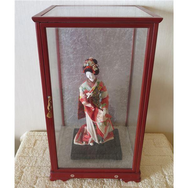 "Japan Geisha Girl Figurine in Wood w/ Glass Case 12""x21""H"