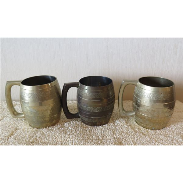 "Qty 3 Etched Metal Mugs w/ Floral Design 3""x4""H"