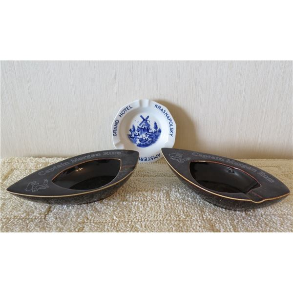 Qty 2 Oval Teardrop Shape Ashtrays & Grand Hotel Krasnapolsky Amsterdam