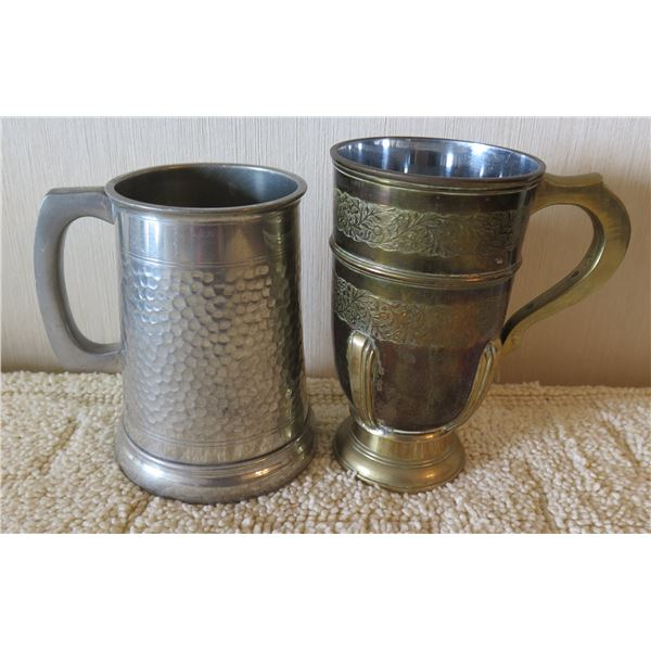 Qty 2 Etched Metal Mugs: Dunlop Best English Pewter & Footed Floral