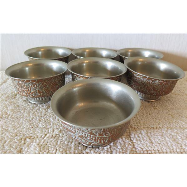 "Qty 7 Footed Etched Metal Bowls w/ Leaf Design 4""x2""H"