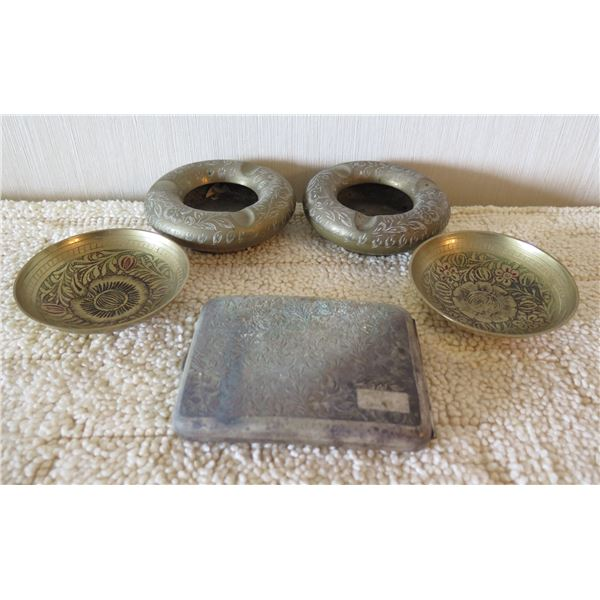 Qty 2 Metal Ashtrays, 2 Carved Side Dishes & Square Cigarette Case