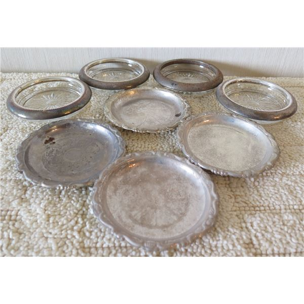 Qty 8 Round Glass & Metal Bowls - 4 Pinwheel Design & 4 Silver Plated in Italy