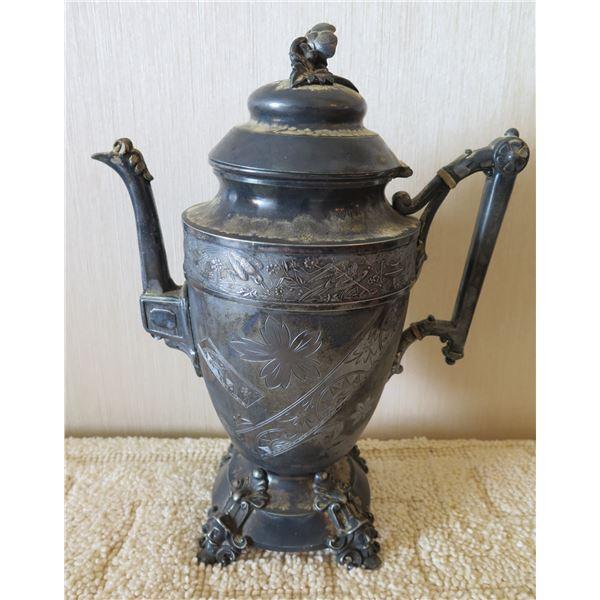 "Simson Hall Miller & Co. Vintage Teapot w/ Raised Bird Design 11""H"