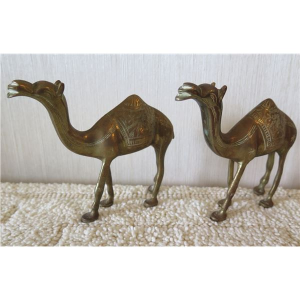 "Qty 2 Metal Camel Figurines w/ Carved Saddles 5""x4.5""H"