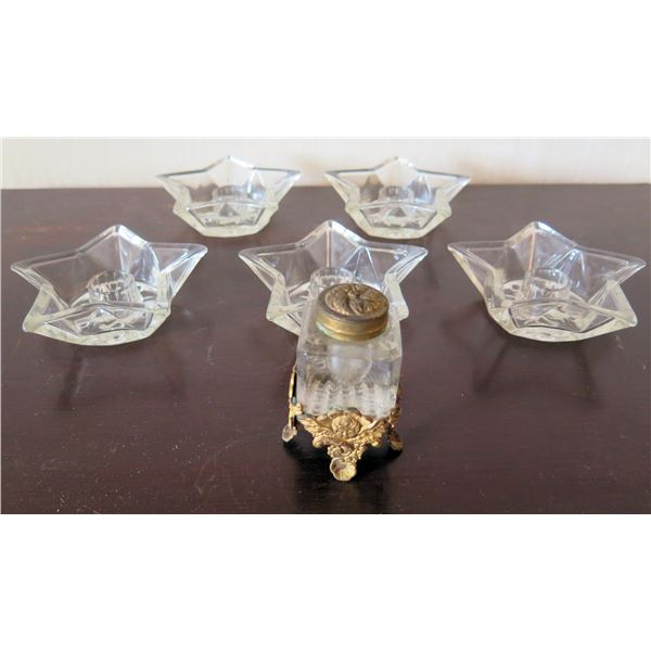 "Qty 5 Glass 4"" Star Candle Holders & Glass Bottle w/ Metal Base & Lid"