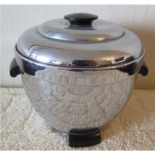 Vintage Thermos Ice Bucket/Hot Server w/ Black Handles & Base Model No 925
