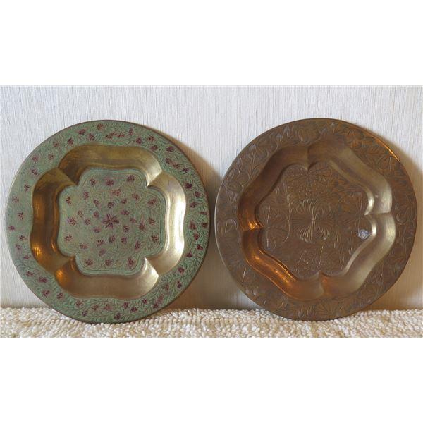 "Qty 2 Decorative Metal Plates: Green w/ Floral Design 7""Diameter"