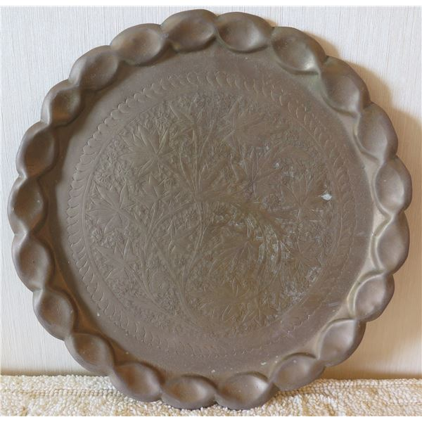 "Round Etched Tree Design Plate w/ Scalloped Edges 14"" Diameter"