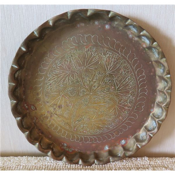 """Round Etched Floral Design Plate w/ Scalloped Raised Edges 10"""" Diameter"""
