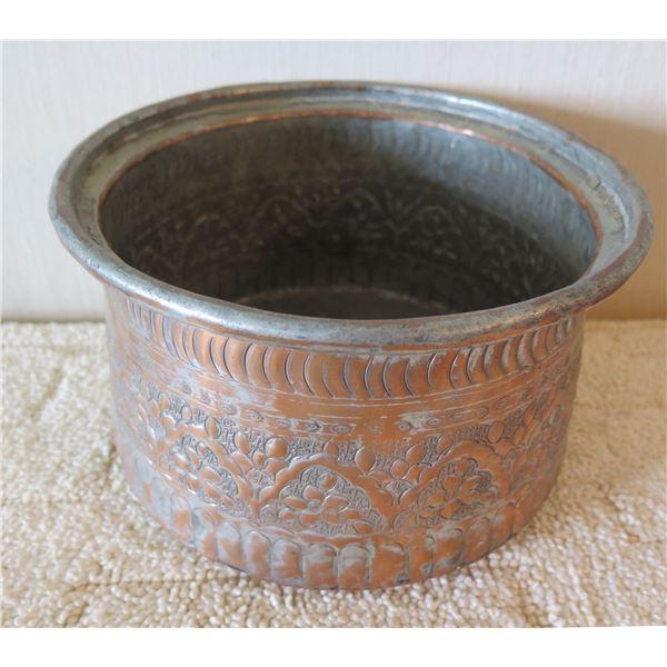 "Round Metal Pot w/ Etched Raised Floral Design 9"" Dia, 5.5""H"